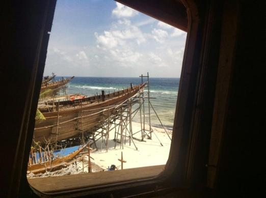 Phinisi under construction from the wheel house. Pantai Timor